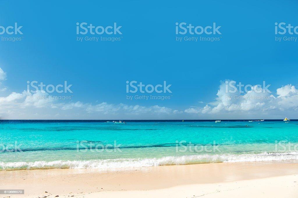 Beautiful marine view on sea coast line on sandy beach stock photo