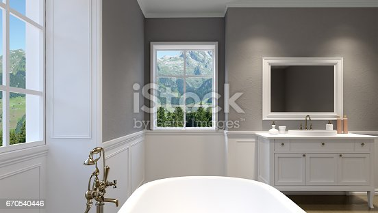 istock Beautiful master bathroom with shower. 3D rendering 670540446