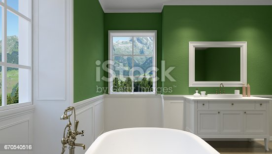 istock Beautiful master bathroom with shower. 3D rendering 670540516