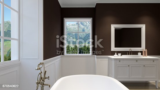 istock Beautiful master bathroom with shower. 3D rendering 670540622