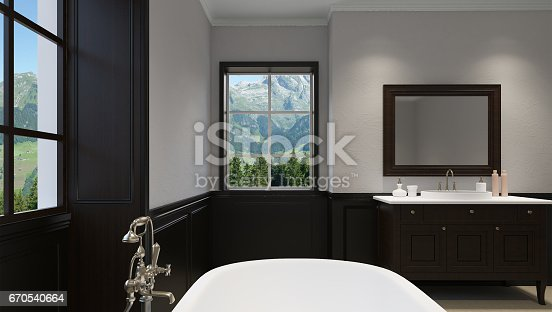 istock Beautiful master bathroom with shower. 3D rendering 670540664