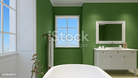 istock Beautiful master bathroom with shower. 3d rendering 670543372