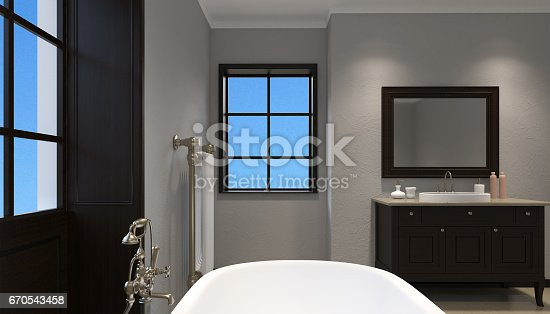 istock Beautiful master bathroom with shower. 3d rendering 670543458