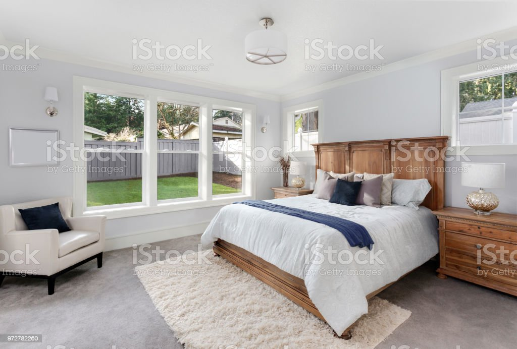 Beautiful Master Bedroom In New Luxury Home Has Large Bank Of ...