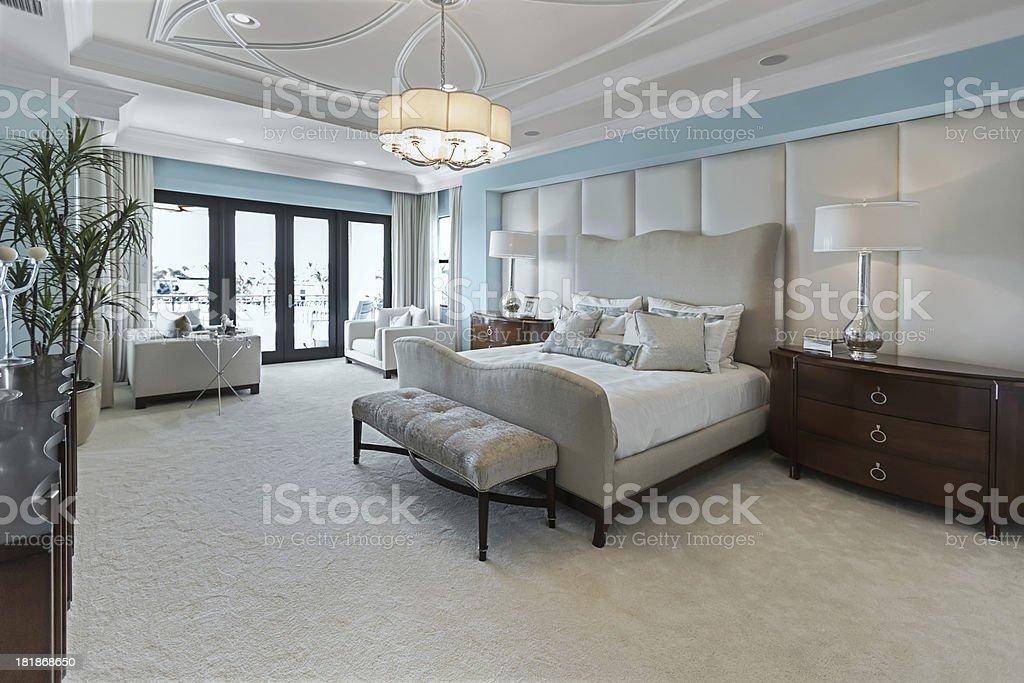 beautiful master bedroom interior stock photo