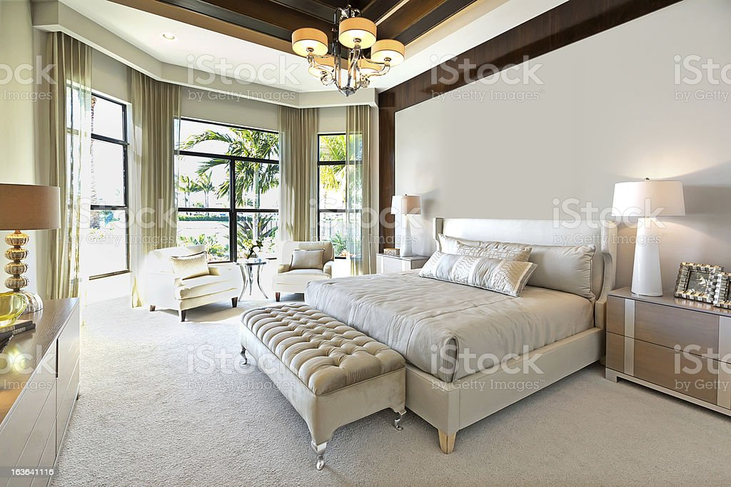 beautiful master bedroom stock photo