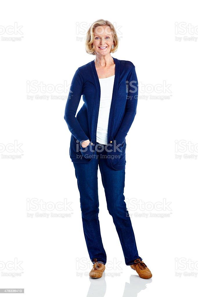 Linda mulher de negócios maduros em pé no branco - foto de acervo