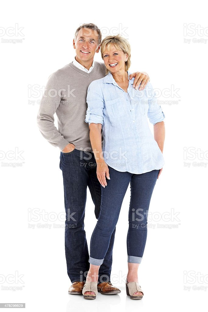 Beautiful mature couple standing together stock photo