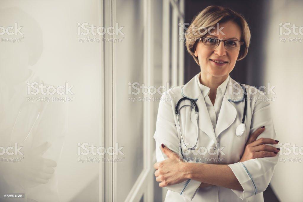 Beautiful mature doctor stock photo