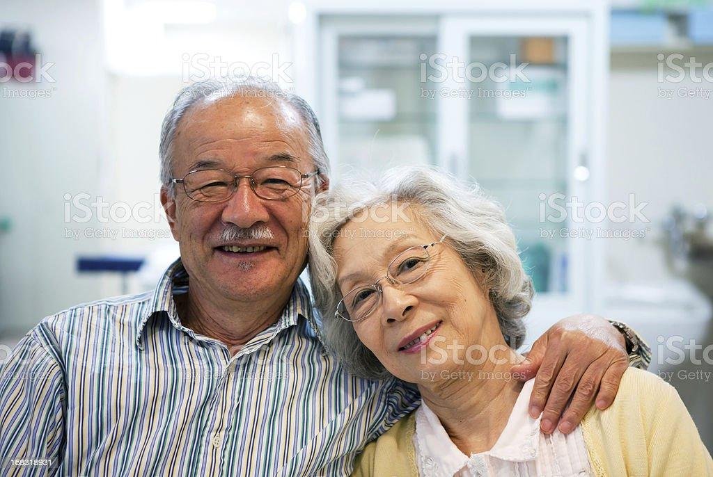Beautiful mature japanese couple royalty-free stock photo