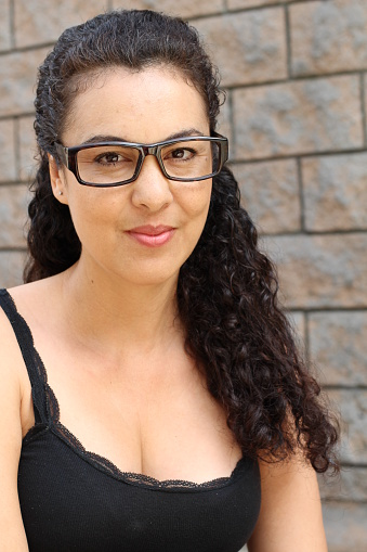 Beautiful Mature Middle Aged Latina Woman Isolated Stock