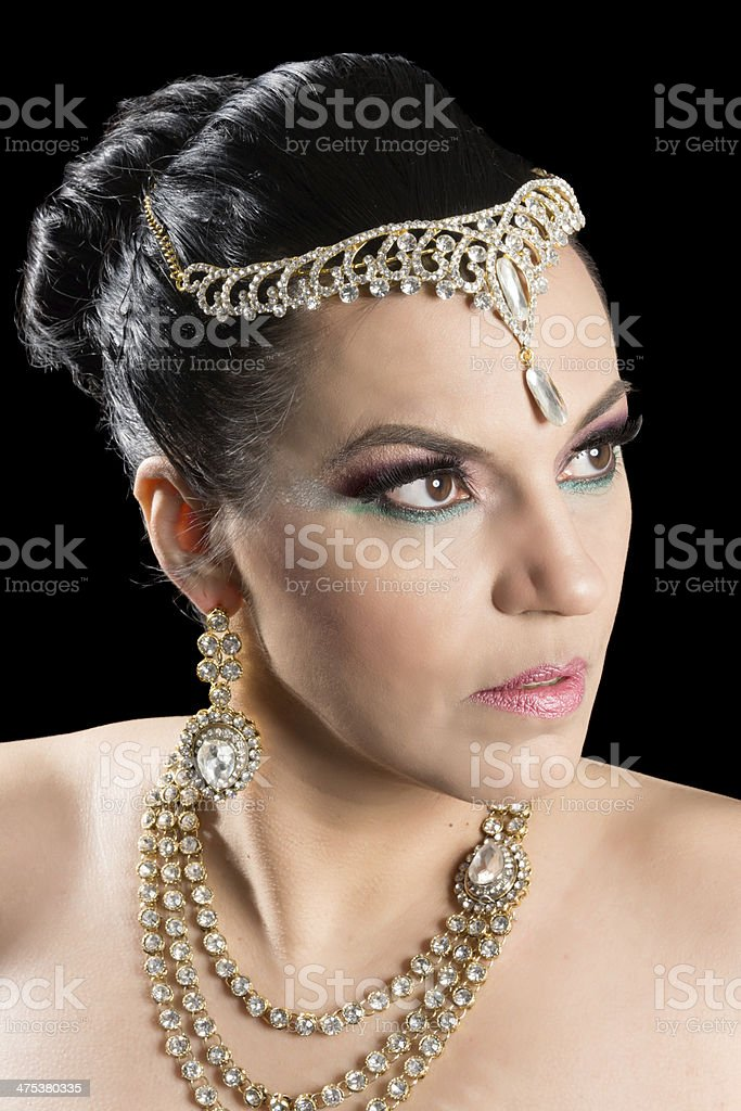 Beautiful Mature Native Woman In Arabic Wedding Makeup And Jewelry Royalty Free Stock Photo