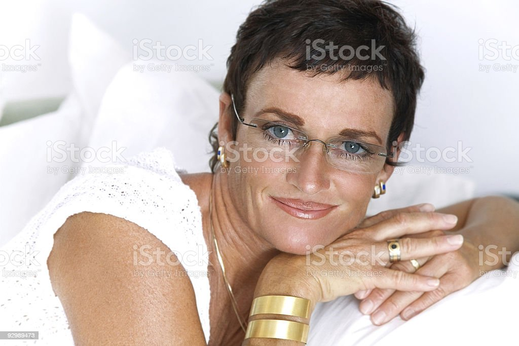 Beautiful mature woman smiling royalty-free stock photo