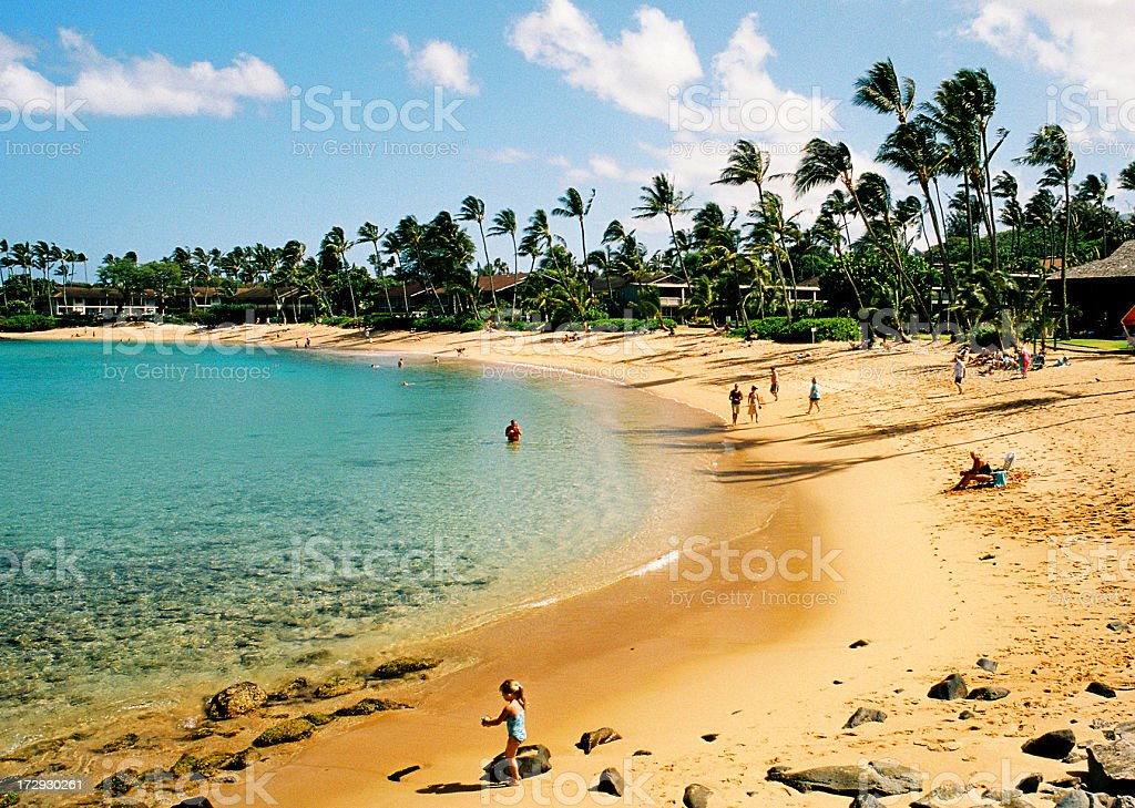 Beautiful Maui Hawaii palm tree resort beach with little girl stock photo