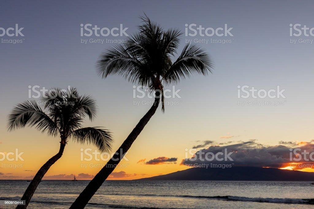 Wunderschöne Maui Sonnenuntergang - Lizenzfrei Dramatischer Himmel Stock-Foto