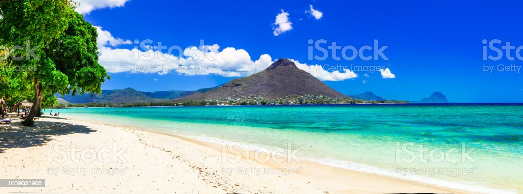 Beautiful Mauritius island with gorgeous beach Flic en flac stock photo