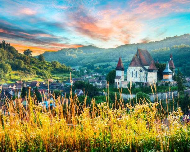 Beautiful medieval architecture of Biertan stock photo