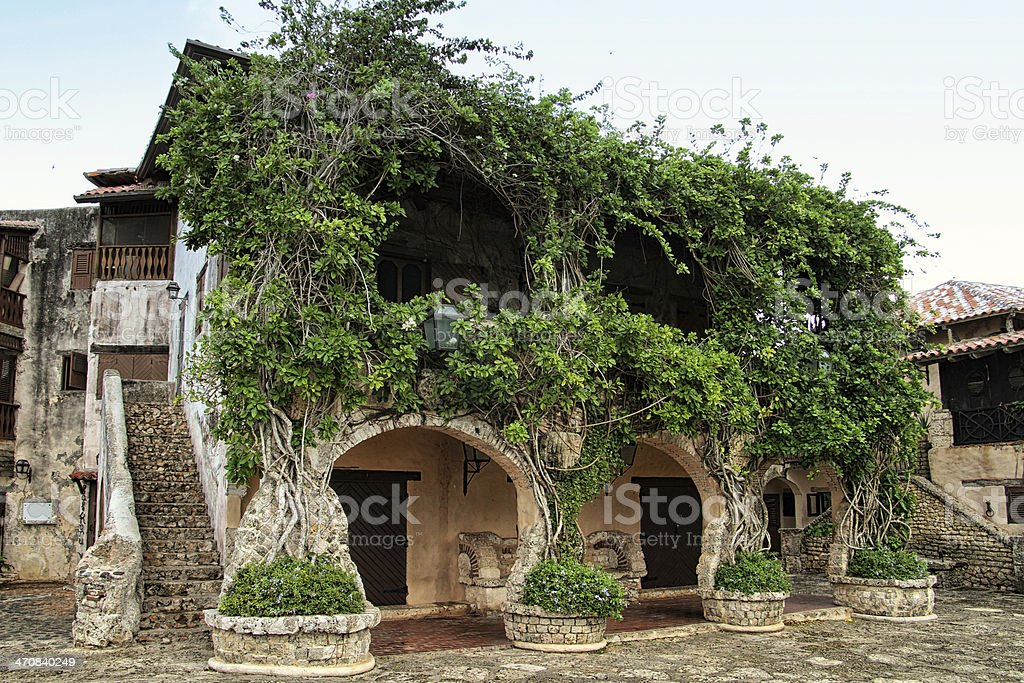 Beautiful medieval house in the Caribbean stock photo