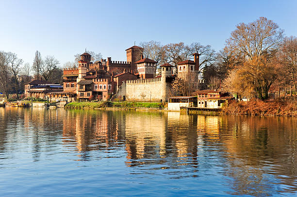 Beautiful Medieval Village built in the park of Valentino, Turin, stock photo