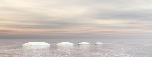 beautiful meditation landscape on the ocean - 3d rendering stock photo