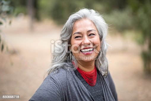 istock Beautiful Mexican Woman with White Hair 830668718