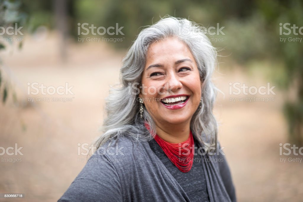 Beautiful Mexican Woman with White Hair stock photo