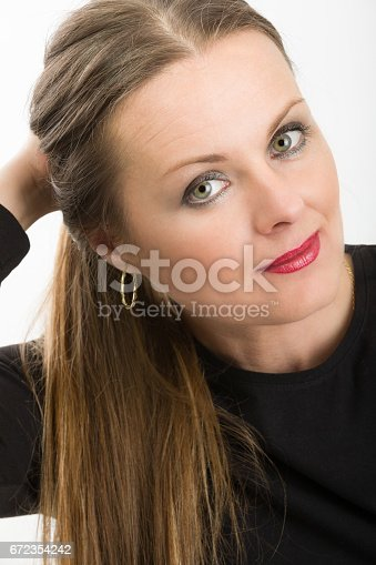 istock beautiful middle age woman cancer patient before shaving hair 672354242