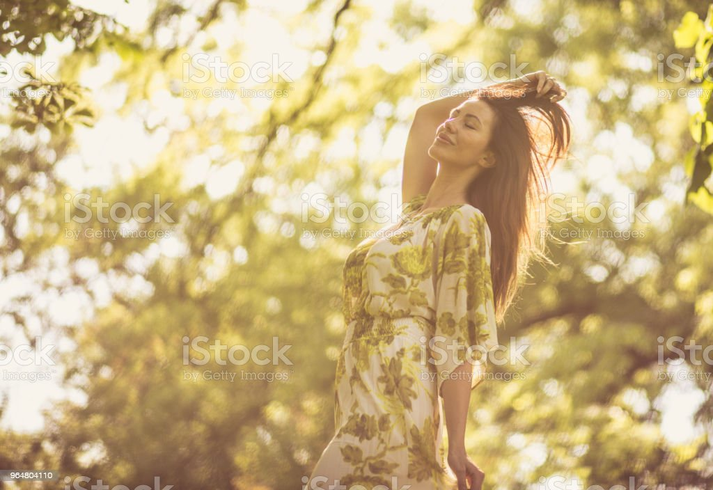 Beautiful middle age women in nature. royalty-free stock photo