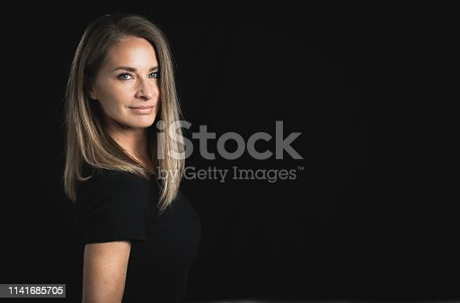 One blond woman with a lot of space for text, beauty, hair, salon, skin