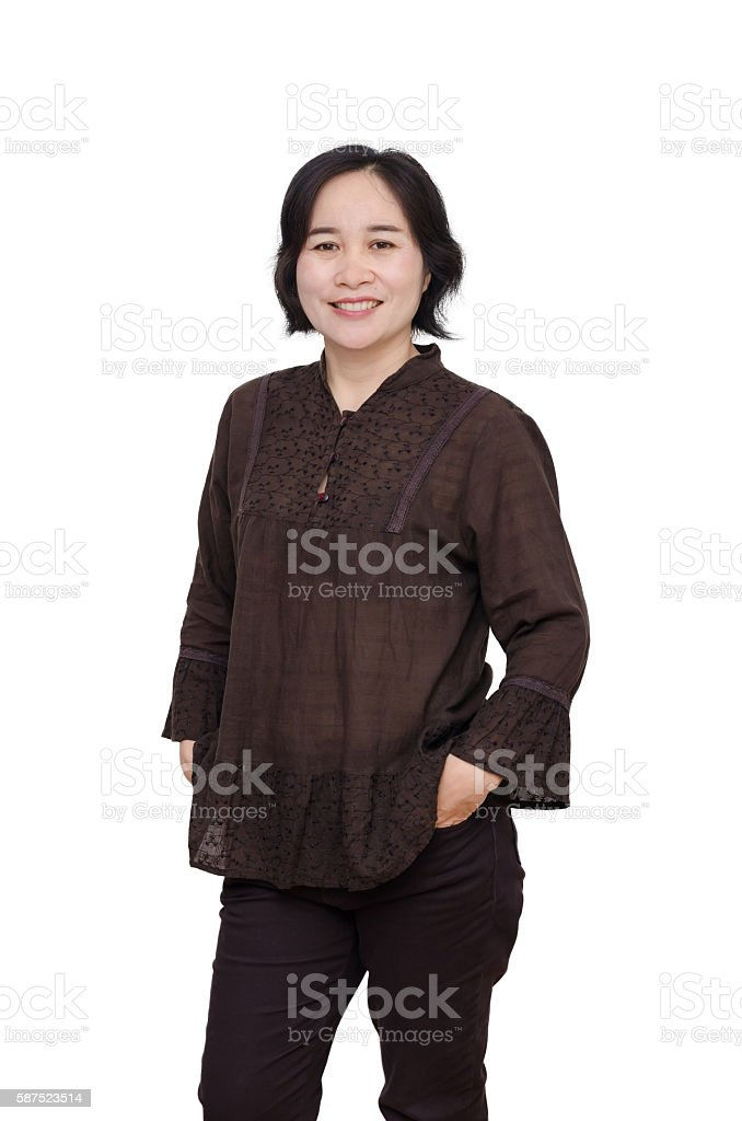 Beautiful middle aged woman over white stock photo