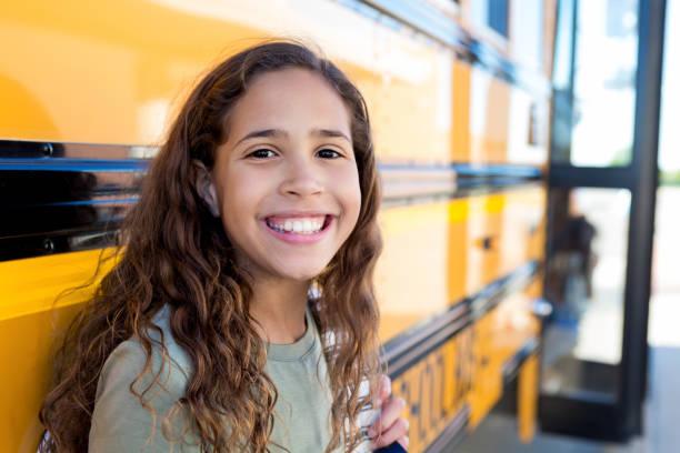 Beautiful middle school girl stock photo