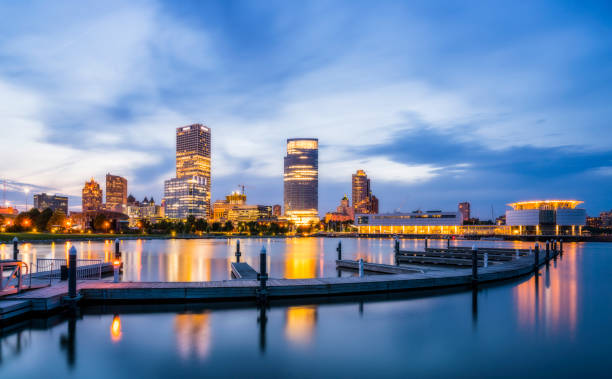beautiful milwaukee  at night with reflection in water ,wisconsin,usa. beautiful milwaukee  at night with reflection in water ,wisconsin,usa. milwaukee wisconsin stock pictures, royalty-free photos & images