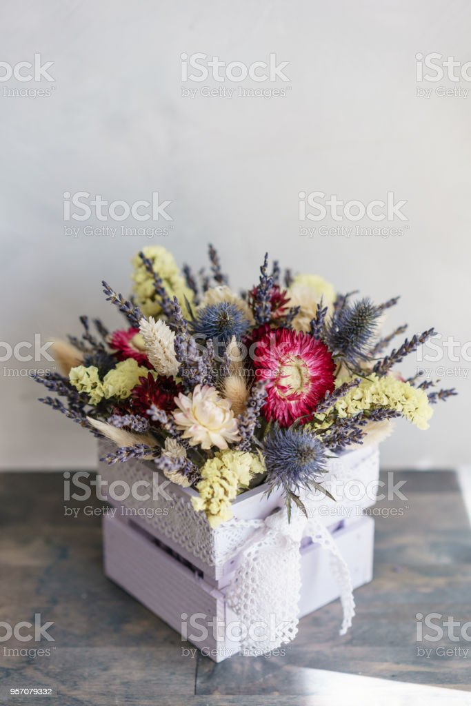 Beautiful Mini Bouquet Lavender And Dry Flowers On Table Stock Photo Download Image Now Istock