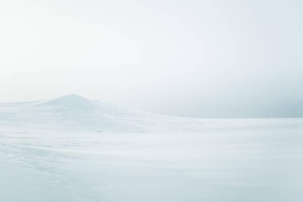 A beautiful, minimalist landscape of flat, snowy Norwegian field. Clean, light, high key, decorative look. stock photo