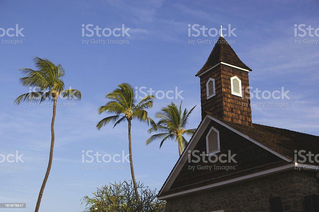 Beautiful Missionary Church on The Hawaiian Island of Maui royalty-free stock photo