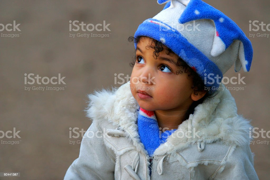 Beautiful Mixed Race African American Female Girl Child stock photo