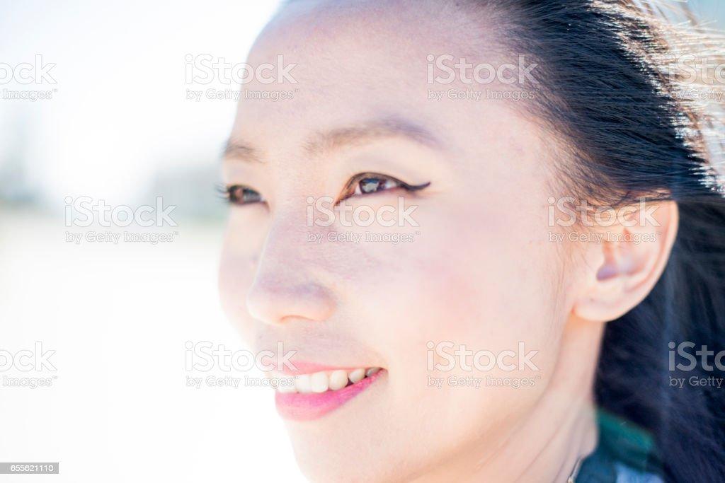 Beautiful mixed race lady at beach royalty-free stock photo