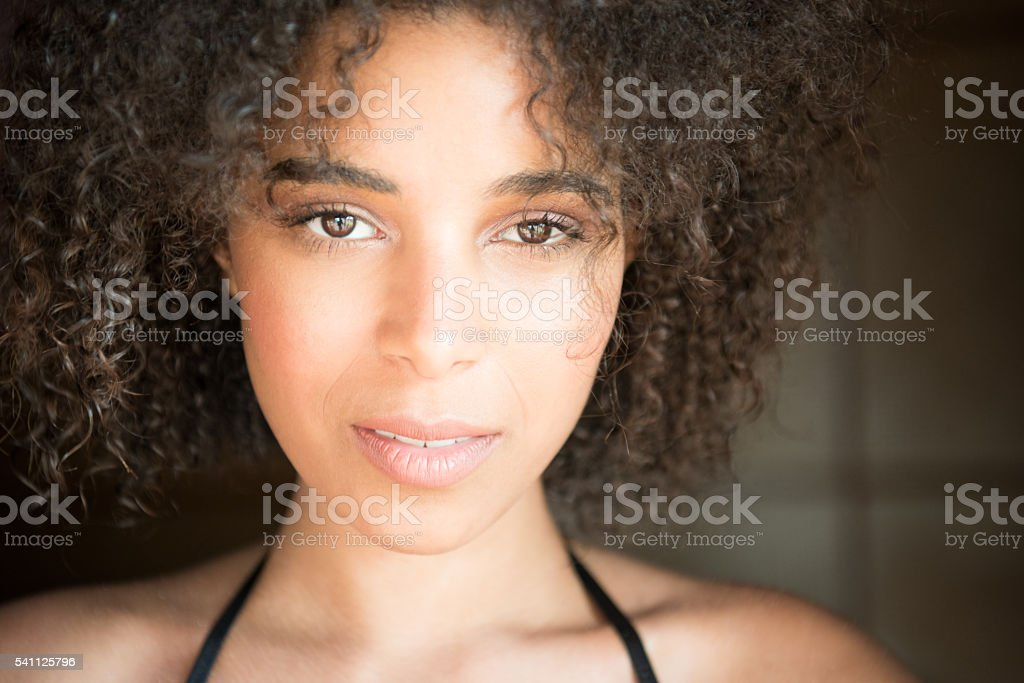 Beautiful Mixed Race Woman, Intense Portrait stock photo