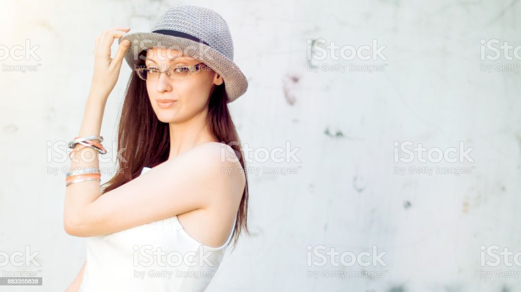 Beautiful mixed race woman reversed selfie outdoors stock photo