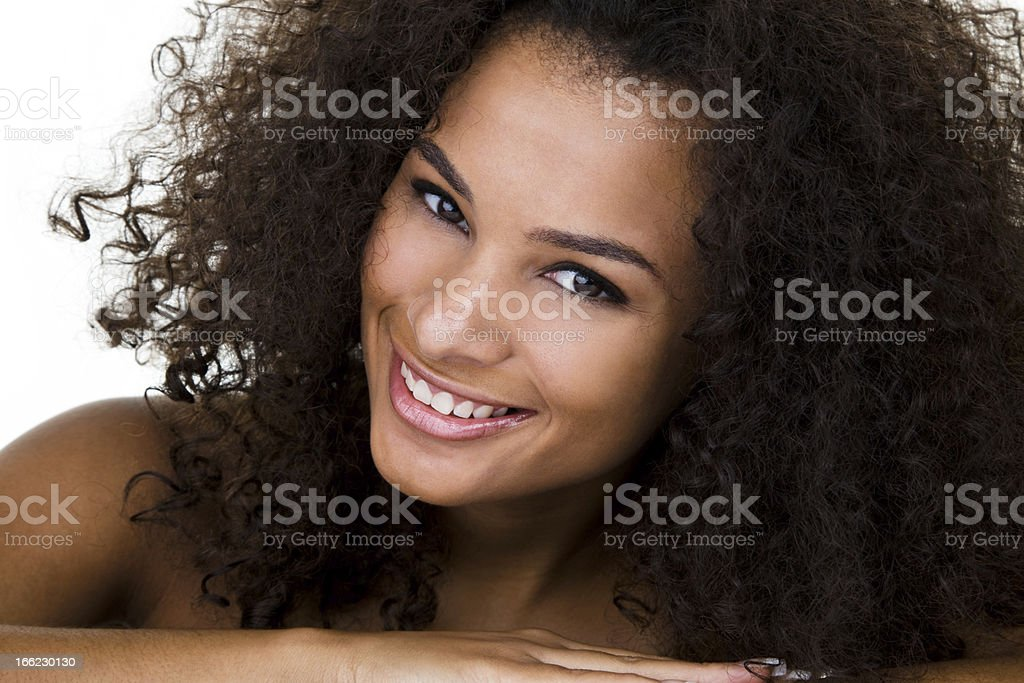 Beautiful mixed race woman with curly hair royalty-free stock photo
