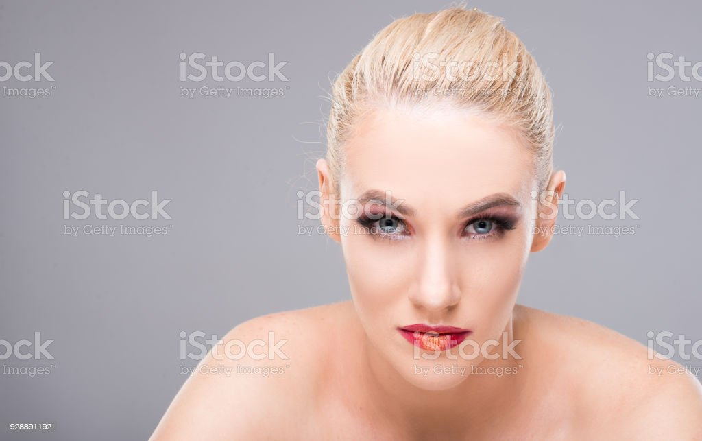 Beautiful Model Posing Wearing Professional Makeup Camera