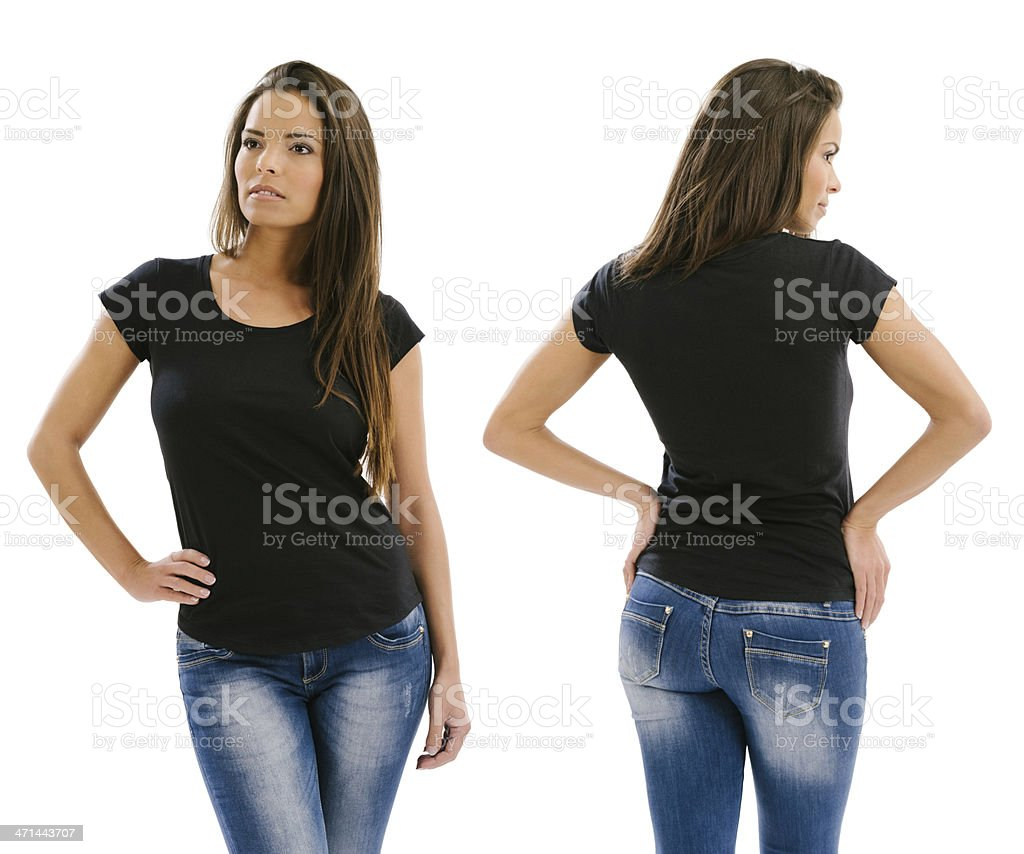 Beautiful model posing with blank black shirt stock photo