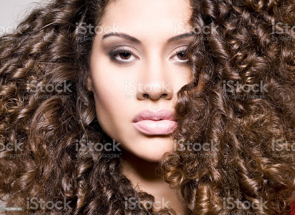 beautiful model with curly hair stock photo