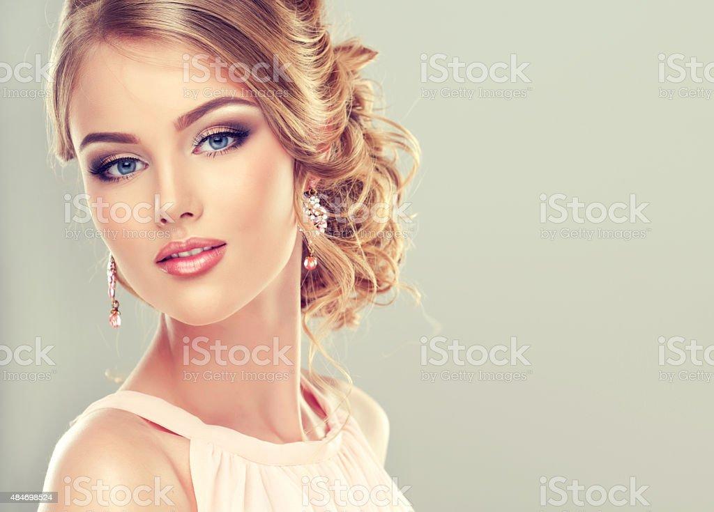 Beautiful model with  elegant hairstyle stock photo