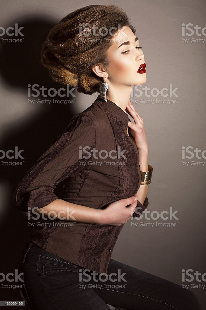 beautiful model with hairstyle stock photo