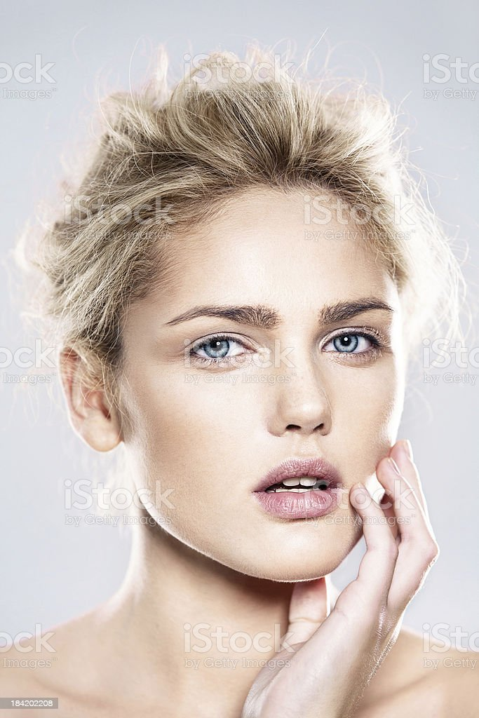 beautiful model with natural make-up stock photo