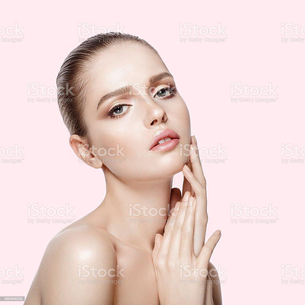 beautiful model with professional makeup stock photo