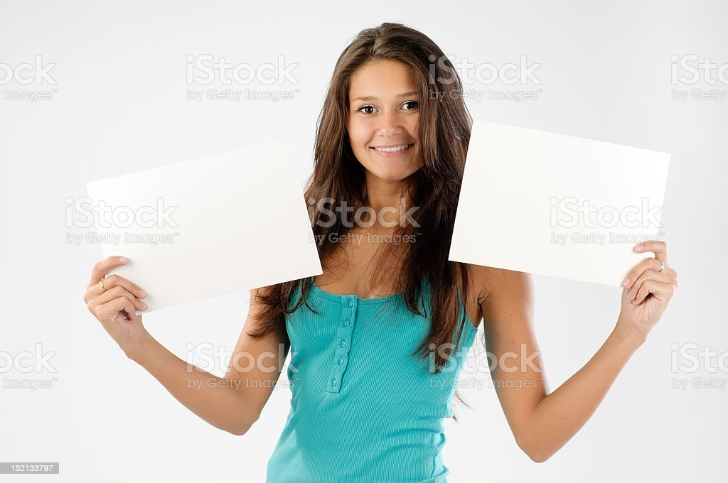 Beautiful model with signboard royalty-free stock photo