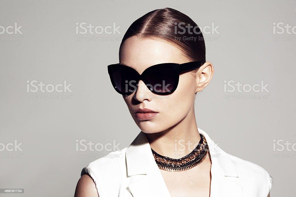 beautiful model with sunglasses stock photo