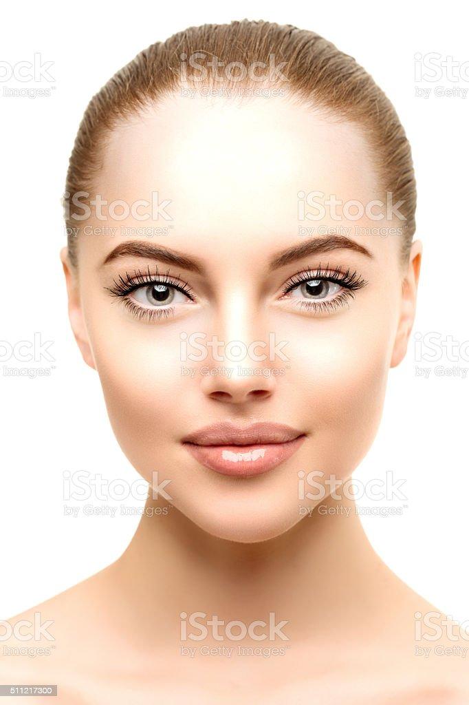 Beautiful model woman in beauty salon makeup Young modern girl stock photo